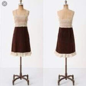 Anthropologie Brown Velvet & Ivory Lace Fit Flare Layering Dress 6